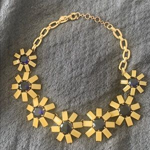 J JCrew Flower Necklace, Gold, Creme and Blue